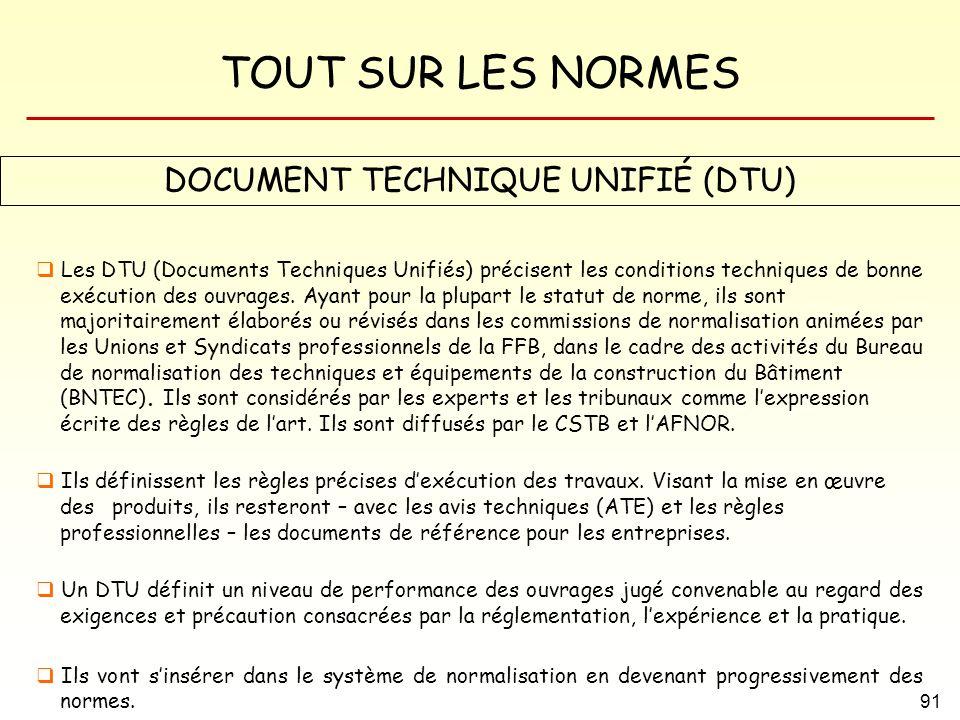 DOCUMENT TECHNIQUE UNIFIÉ (DTU)