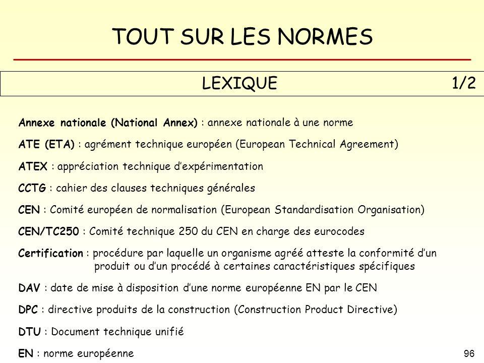 LEXIQUE 1/2 Annexe nationale (National Annex) : annexe nationale à une norme.