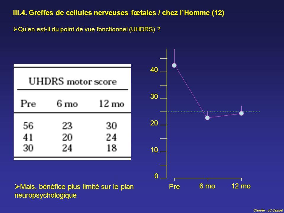 III.4. Greffes de cellules nerveuses fœtales / chez l'Homme (12)
