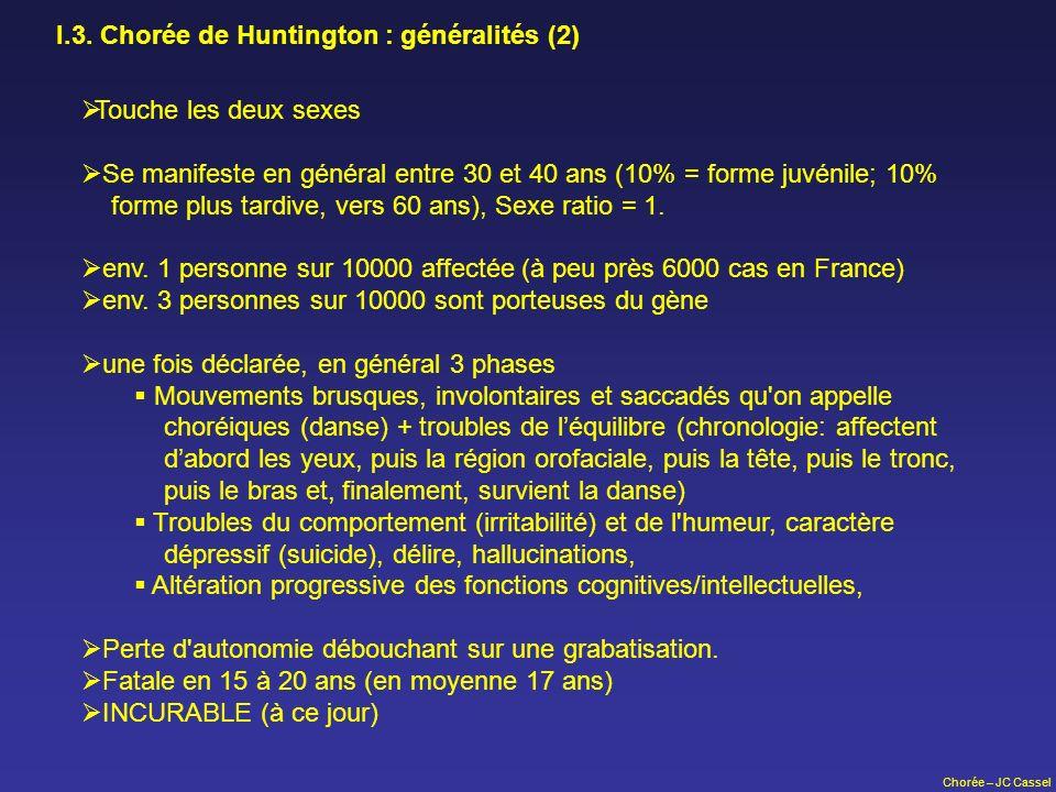 I.3. Chorée de Huntington : généralités (2)