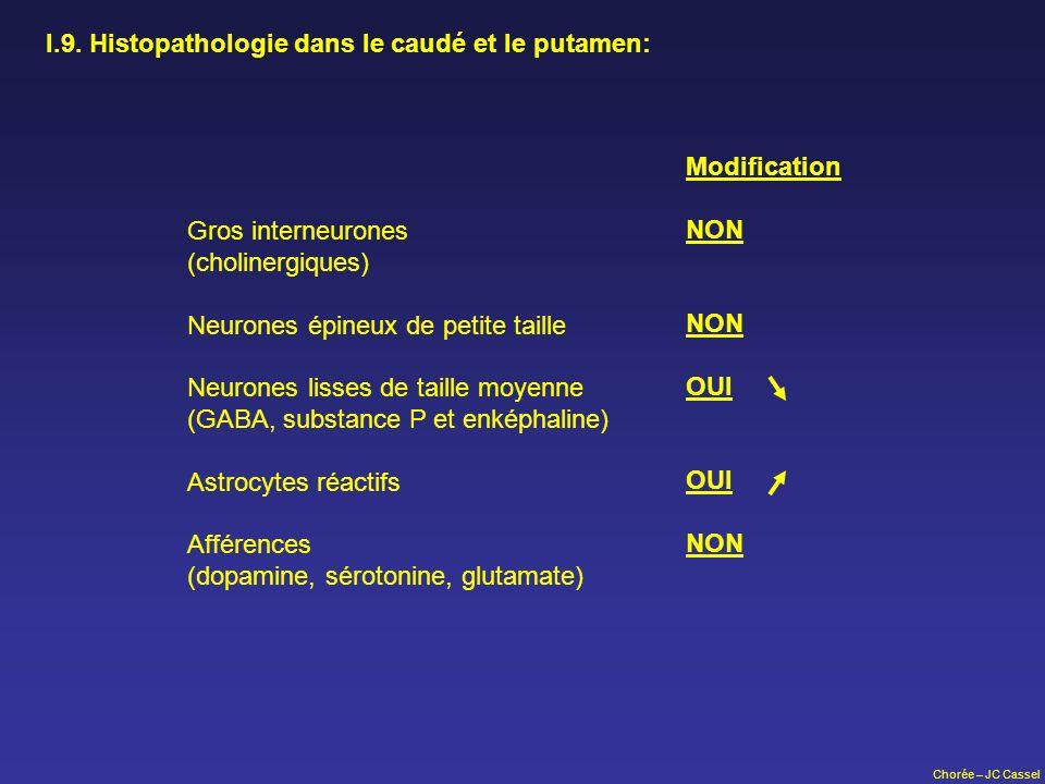 I.9. Histopathologie dans le caudé et le putamen: