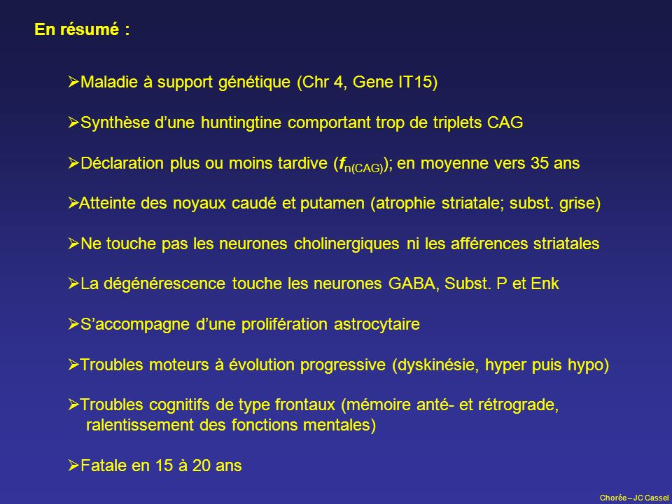 Maladie à support génétique (Chr 4, Gene IT15)