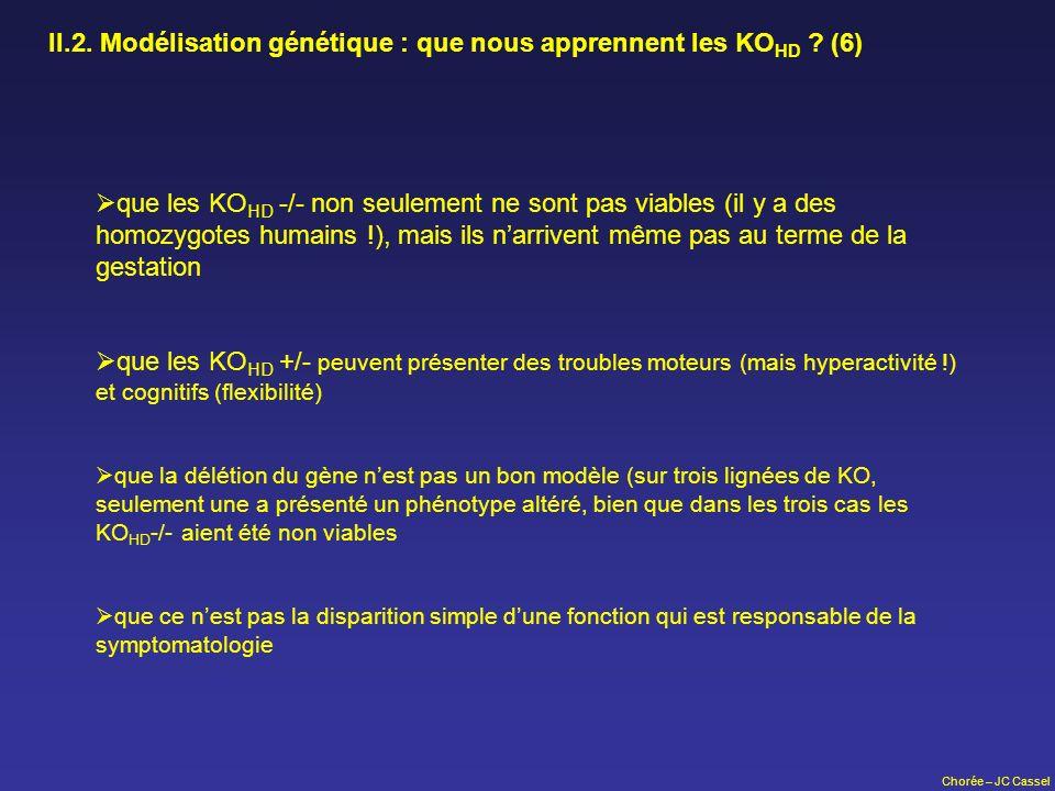 II.2. Modélisation génétique : que nous apprennent les KOHD (6)