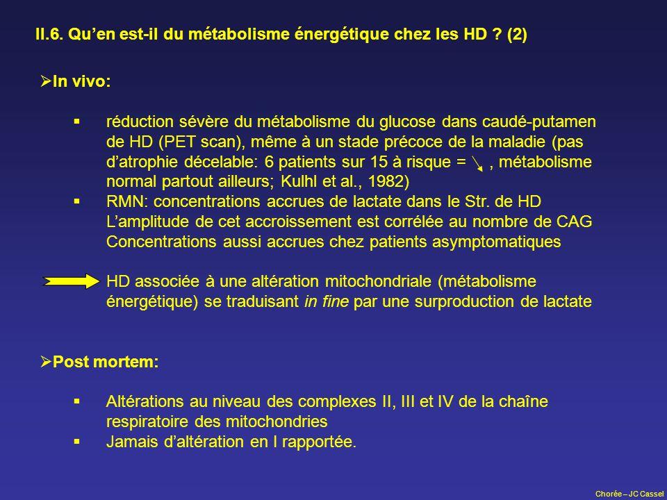 II.6. Qu'en est-il du métabolisme énergétique chez les HD (2)
