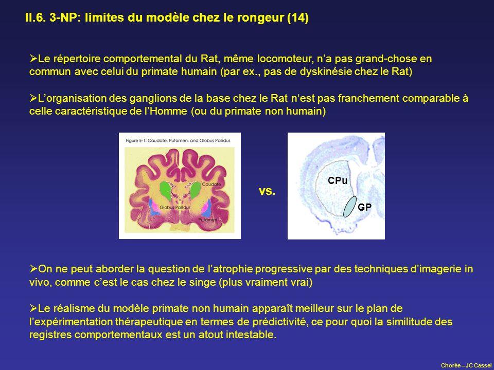 II.6. 3-NP: limites du modèle chez le rongeur (14)