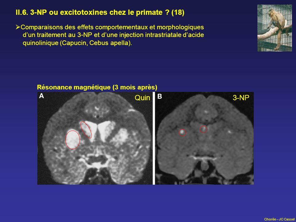 II.6. 3-NP ou excitotoxines chez le primate (18)