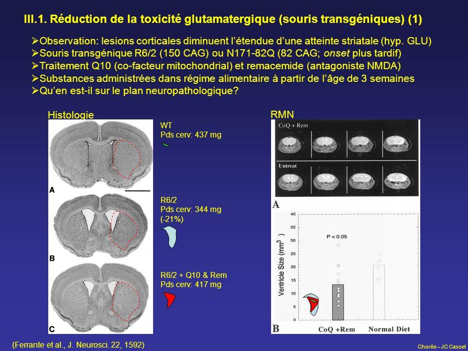 III.1. Réduction de la toxicité glutamatergique (souris transgéniques) (1)