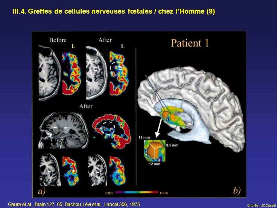 III.4. Greffes de cellules nerveuses fœtales / chez l'Homme (9)