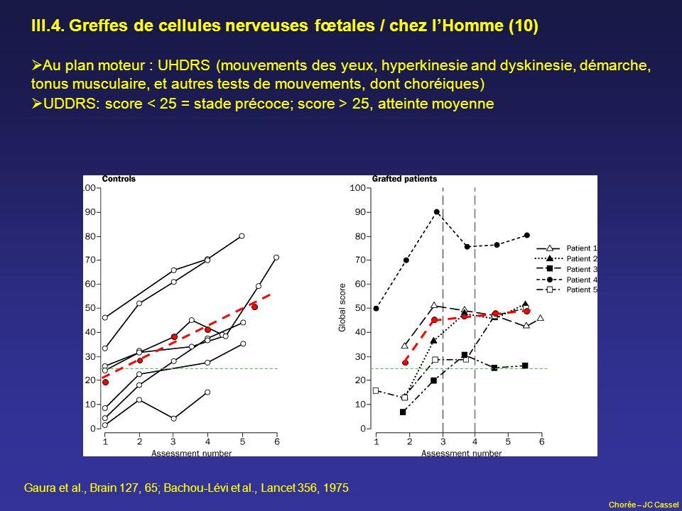III.4. Greffes de cellules nerveuses fœtales / chez l'Homme (10)