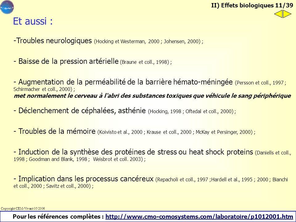 II) Effets biologiques 11/39