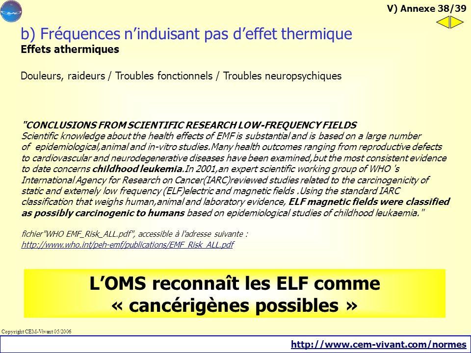 L'OMS reconnaît les ELF comme « cancérigènes possibles »
