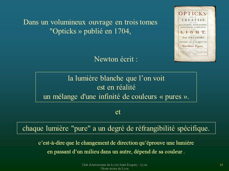 Dans un volumineux ouvrage en trois tomes Opticks » publié en 1704,