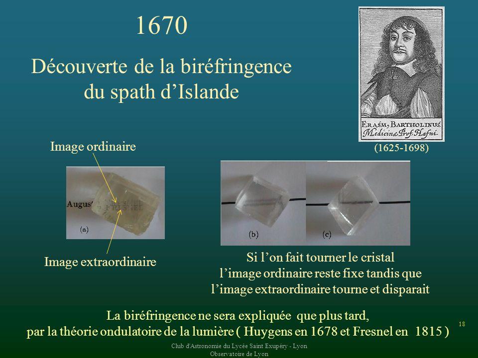 1670 Découverte de la biréfringence du spath d'Islande Image ordinaire