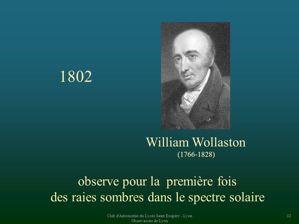 1802 William Wollaston observe pour la première fois