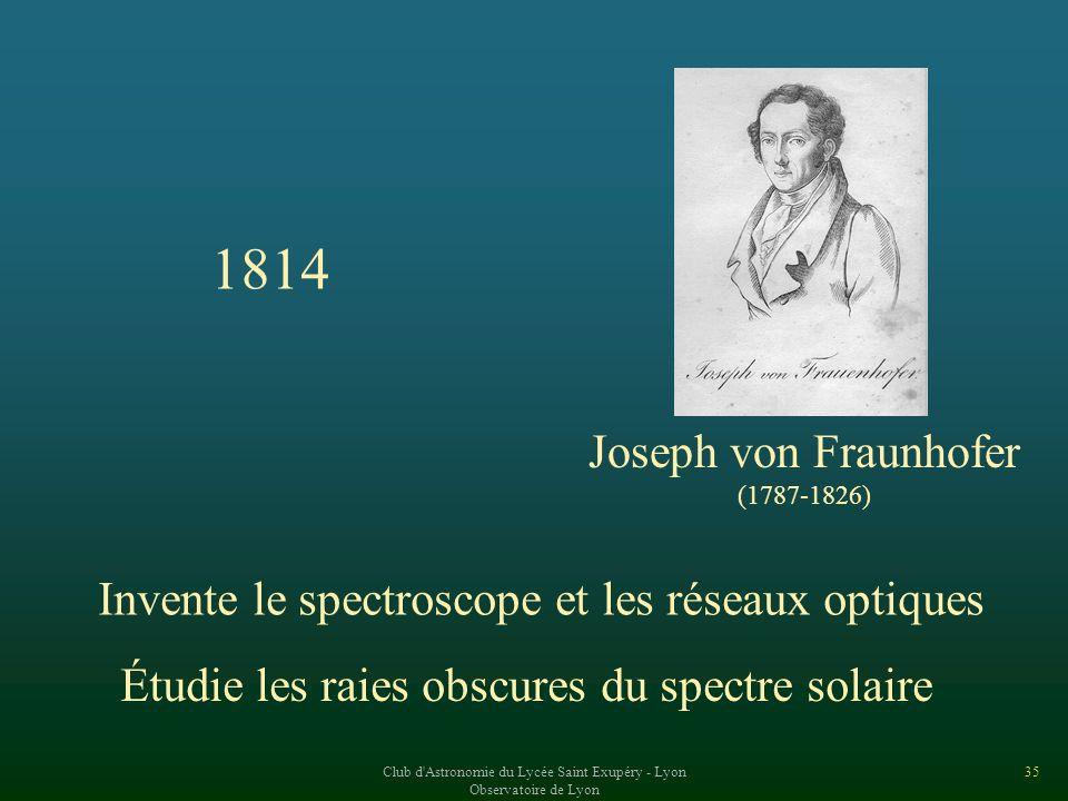 1814 Joseph von Fraunhofer. (1787-1826) Invente le spectroscope et les réseaux optiques. Étudie les raies obscures du spectre solaire.