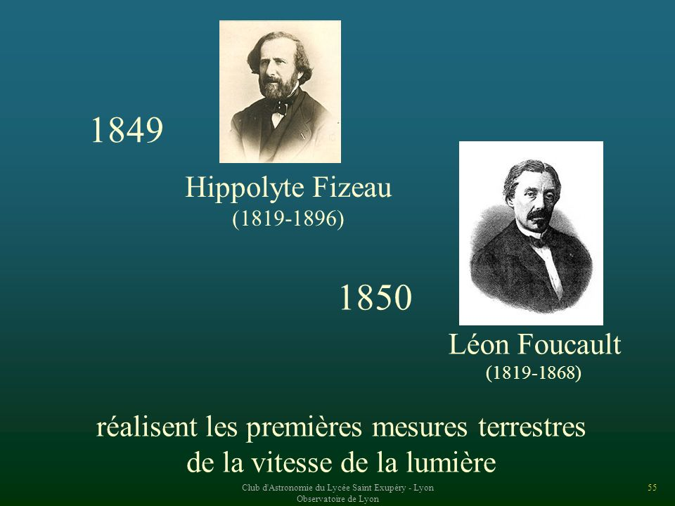 1849 1850 Hippolyte Fizeau Léon Foucault