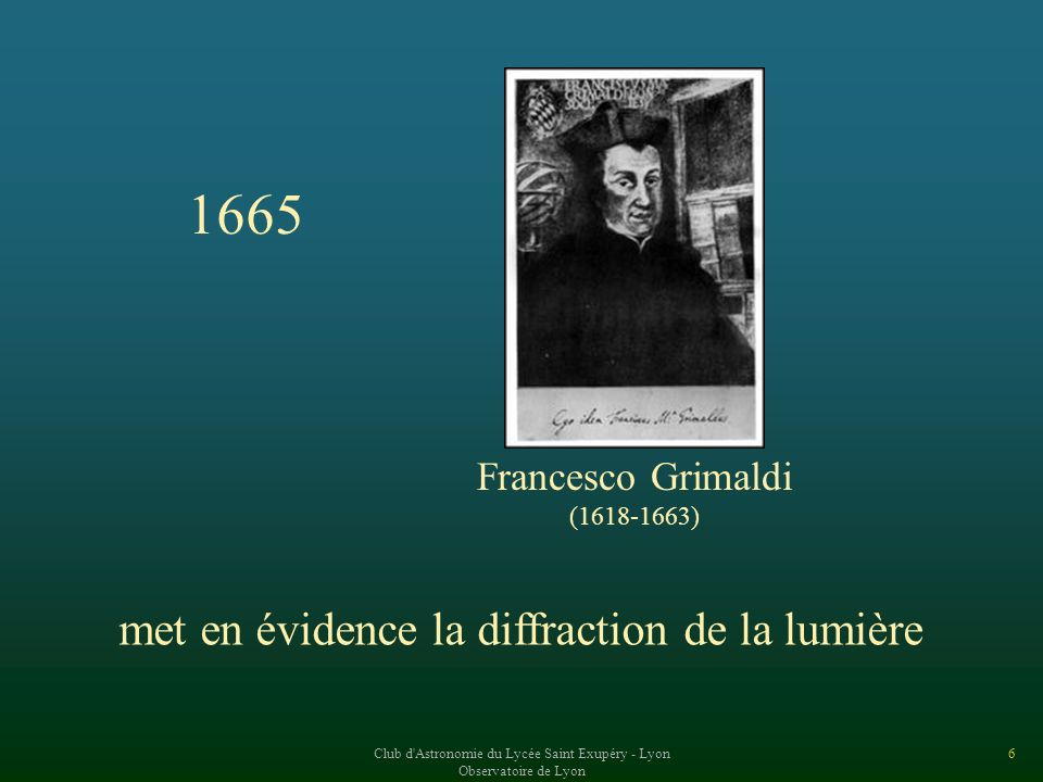 1665 met en évidence la diffraction de la lumière Francesco Grimaldi