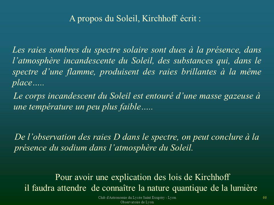 A propos du Soleil, Kirchhoff écrit :
