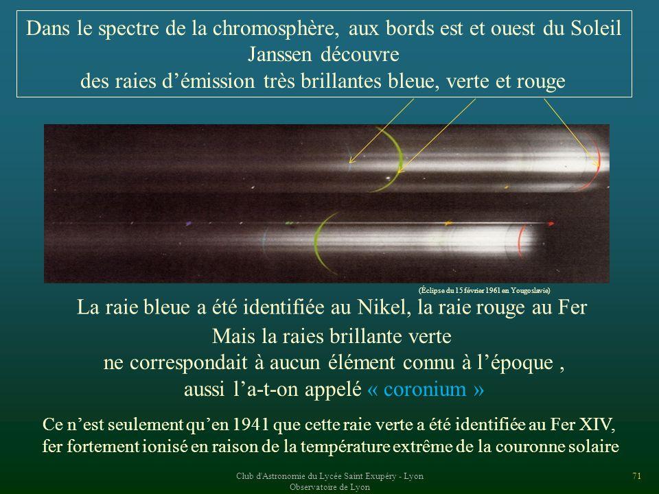 Dans le spectre de la chromosphère, aux bords est et ouest du Soleil