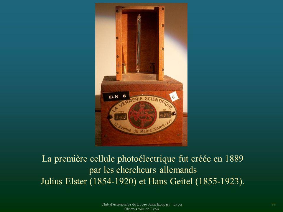La première cellule photoélectrique fut créée en 1889