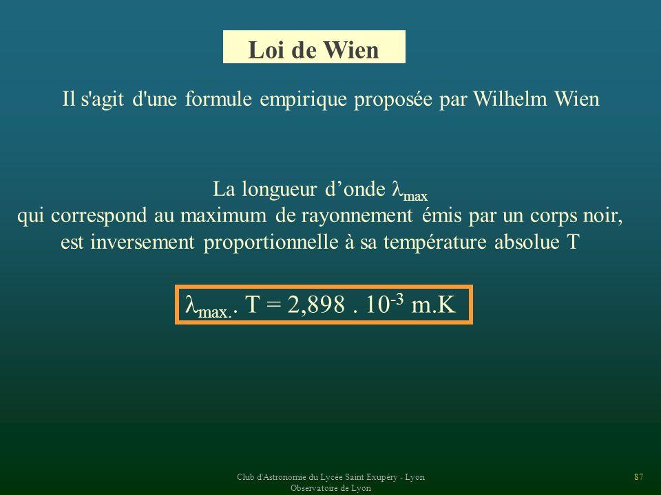 Loi de Wien Il s agit d une formule empirique proposée par Wilhelm Wien. La longueur d'onde max.