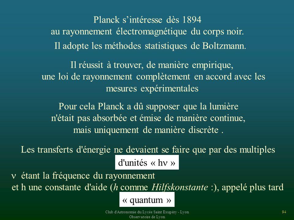 Planck s'intéresse dès 1894