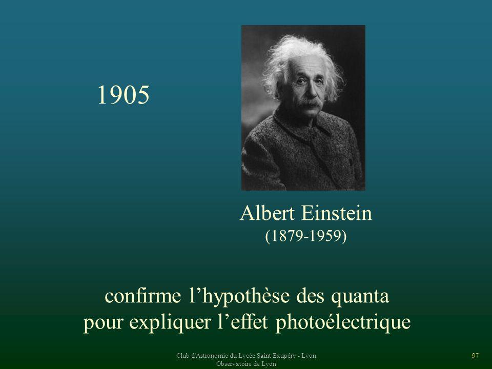 1905 Albert Einstein confirme l'hypothèse des quanta