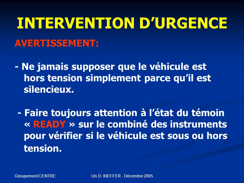 INTERVENTION D'URGENCE