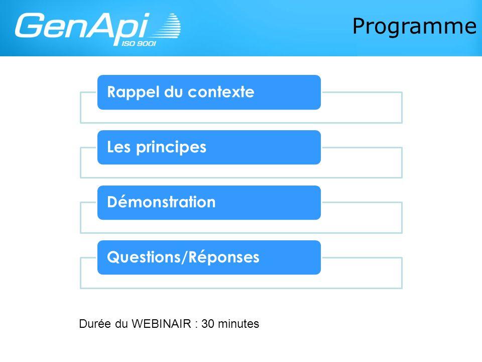 Programme Les principes Durée du WEBINAIR : 30 minutes