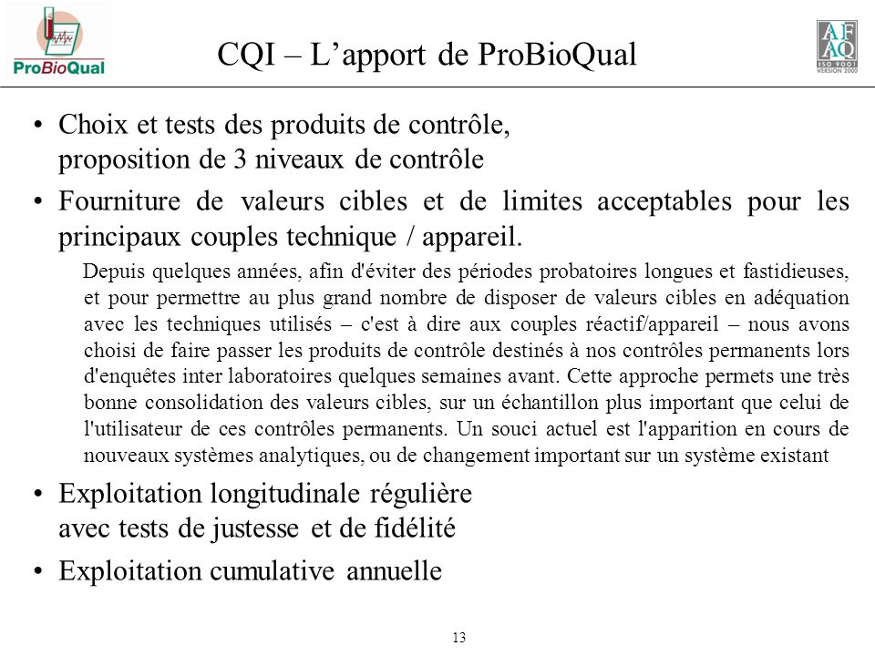 CQI – L'apport de ProBioQual