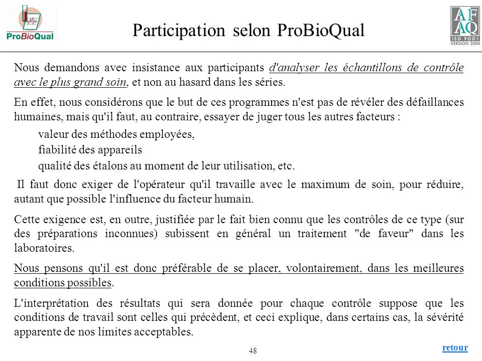Participation selon ProBioQual