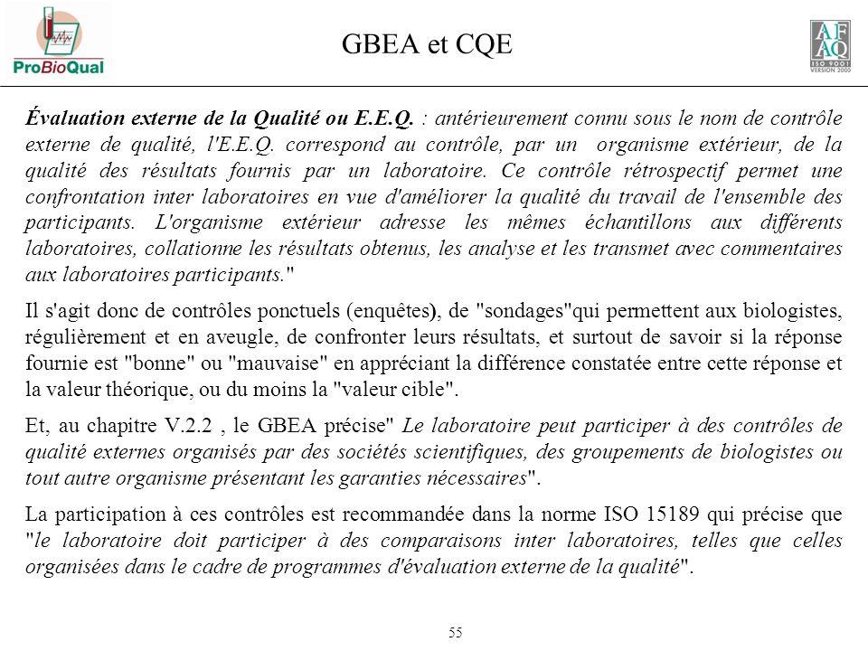 GBEA et CQE