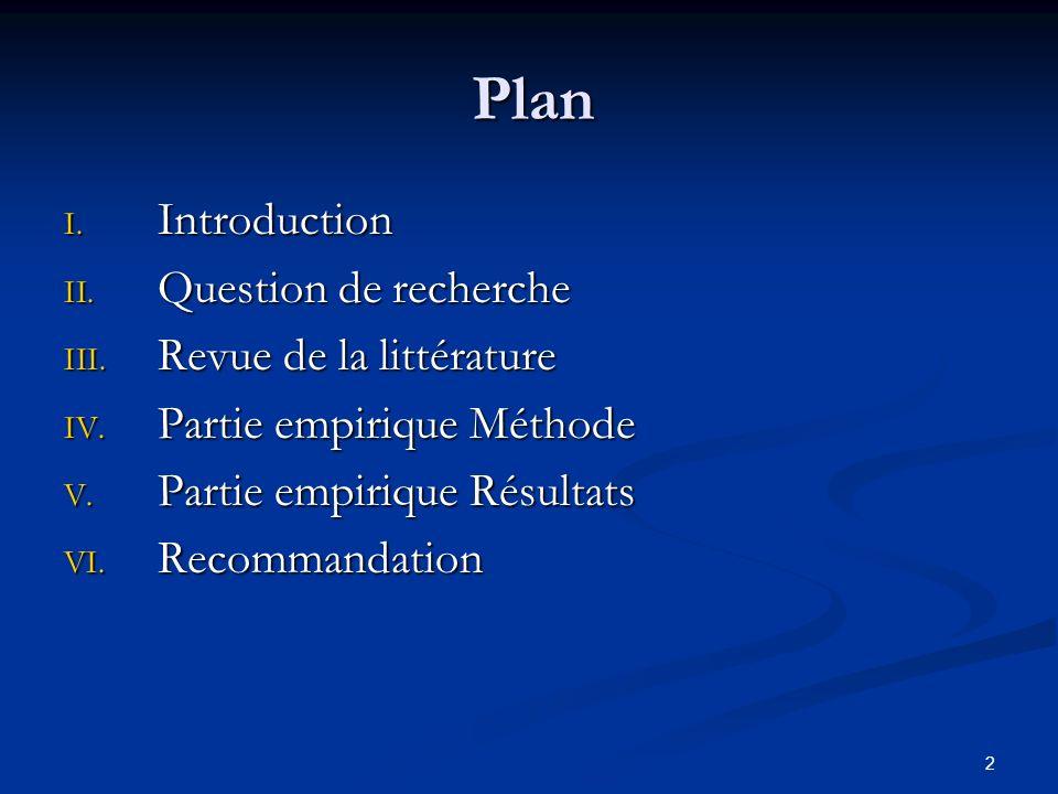 Plan Introduction Question de recherche Revue de la littérature