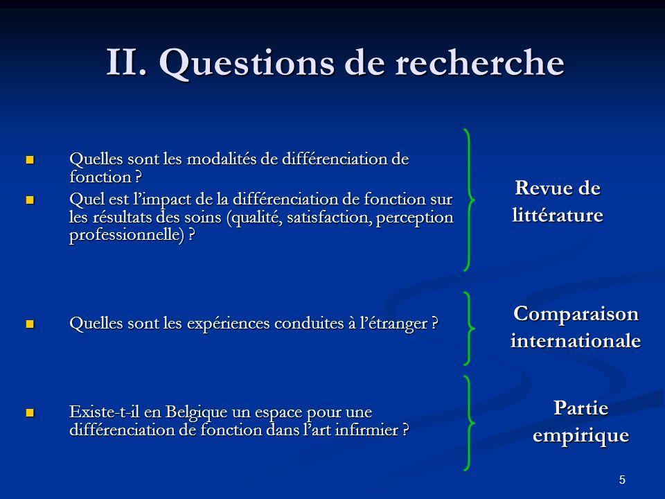 II. Questions de recherche