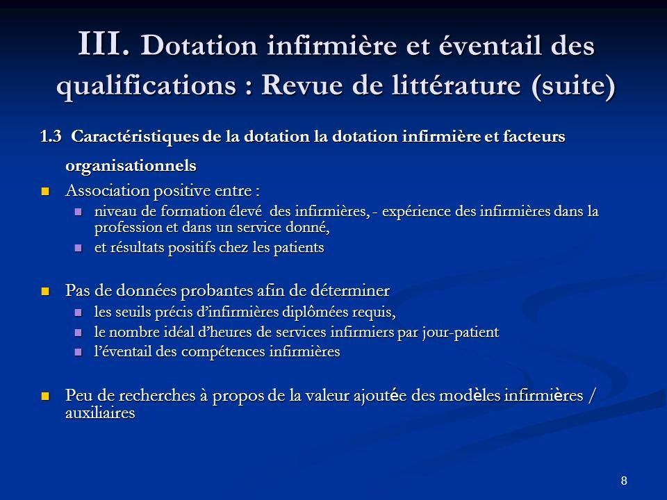 III. Dotation infirmière et éventail des qualifications : Revue de littérature (suite)