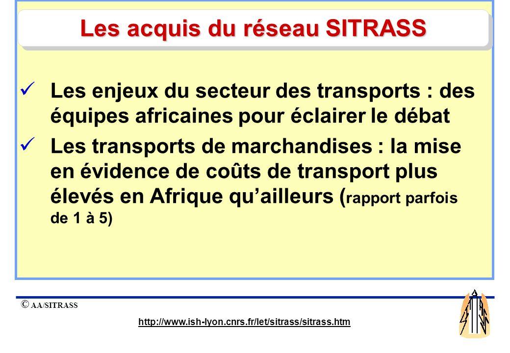 Les acquis du réseau SITRASS