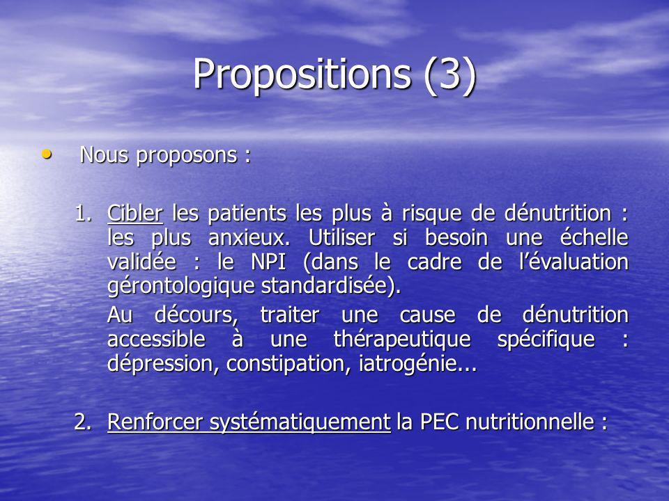 Propositions (3) Nous proposons :