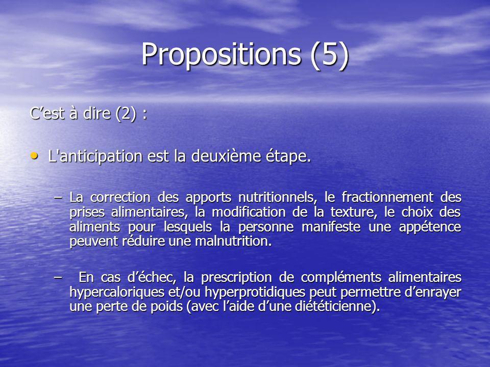 Propositions (5) C'est à dire (2) :