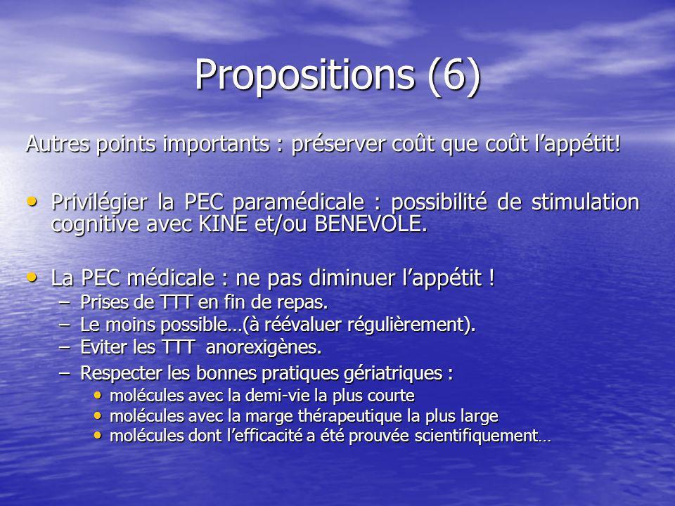 Propositions (6) Autres points importants : préserver coût que coût l'appétit!