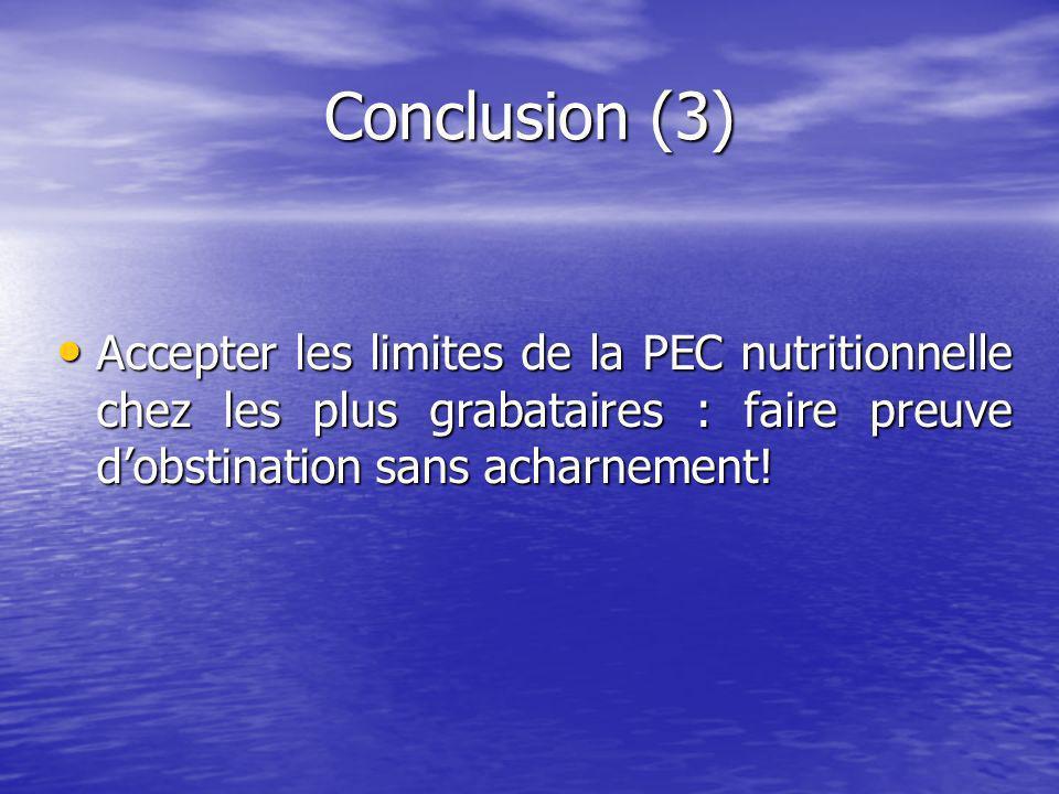 Conclusion (3) Accepter les limites de la PEC nutritionnelle chez les plus grabataires : faire preuve d'obstination sans acharnement!