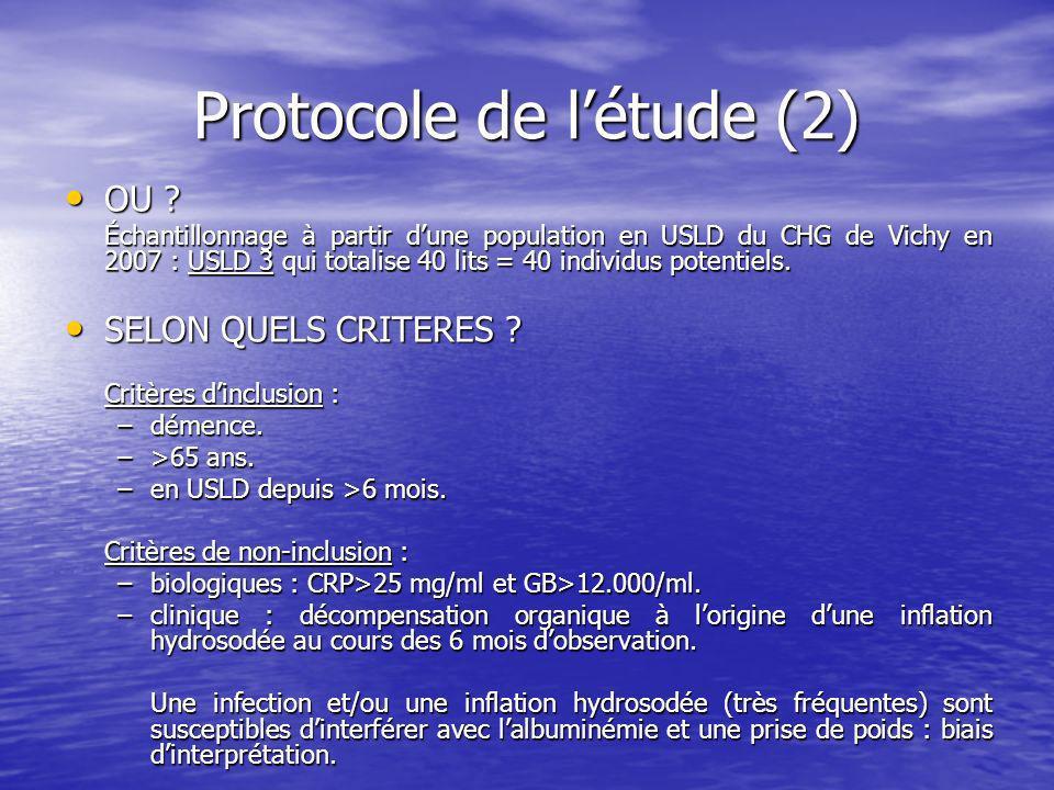 Protocole de l'étude (2)