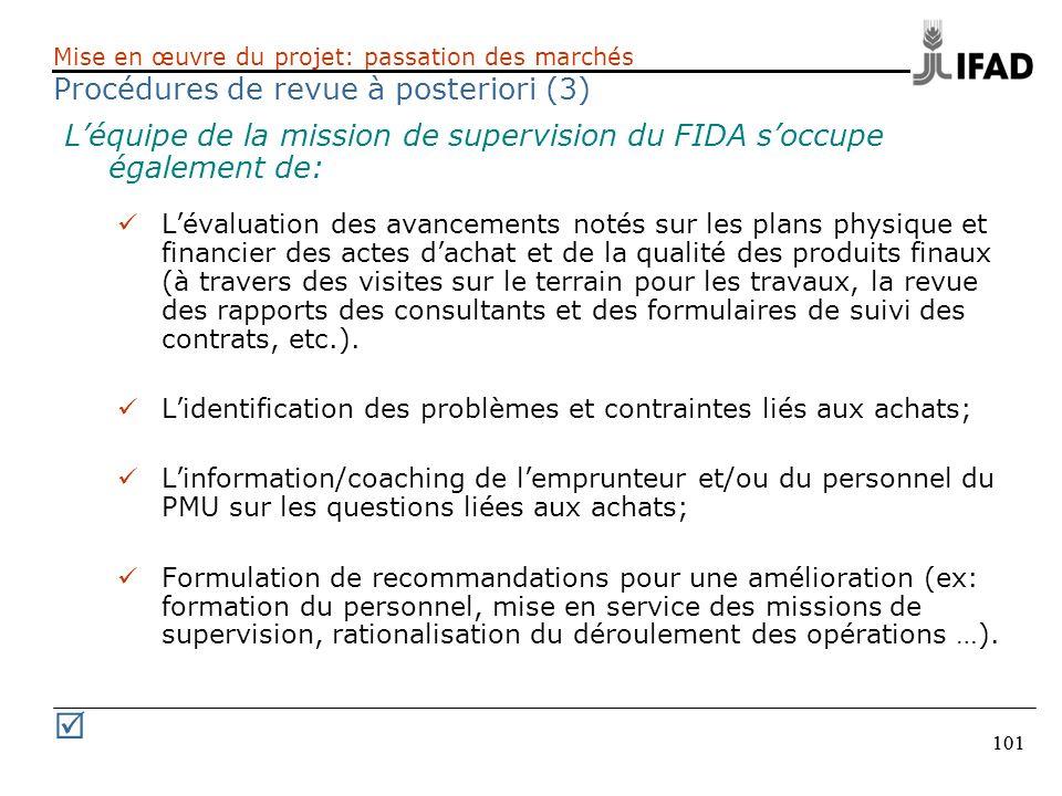 R L'équipe de la mission de supervision du FIDA s'occupe également de: