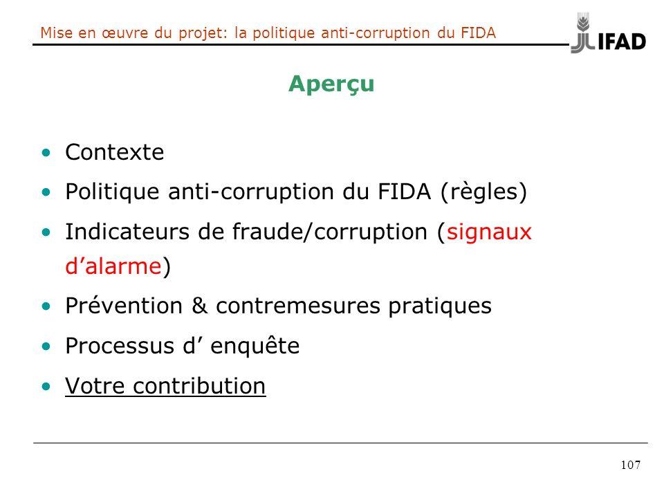 Mise en œuvre du projet: la politique anti-corruption du FIDA