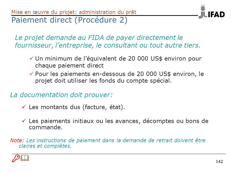 Paiement direct (Procédure 2)