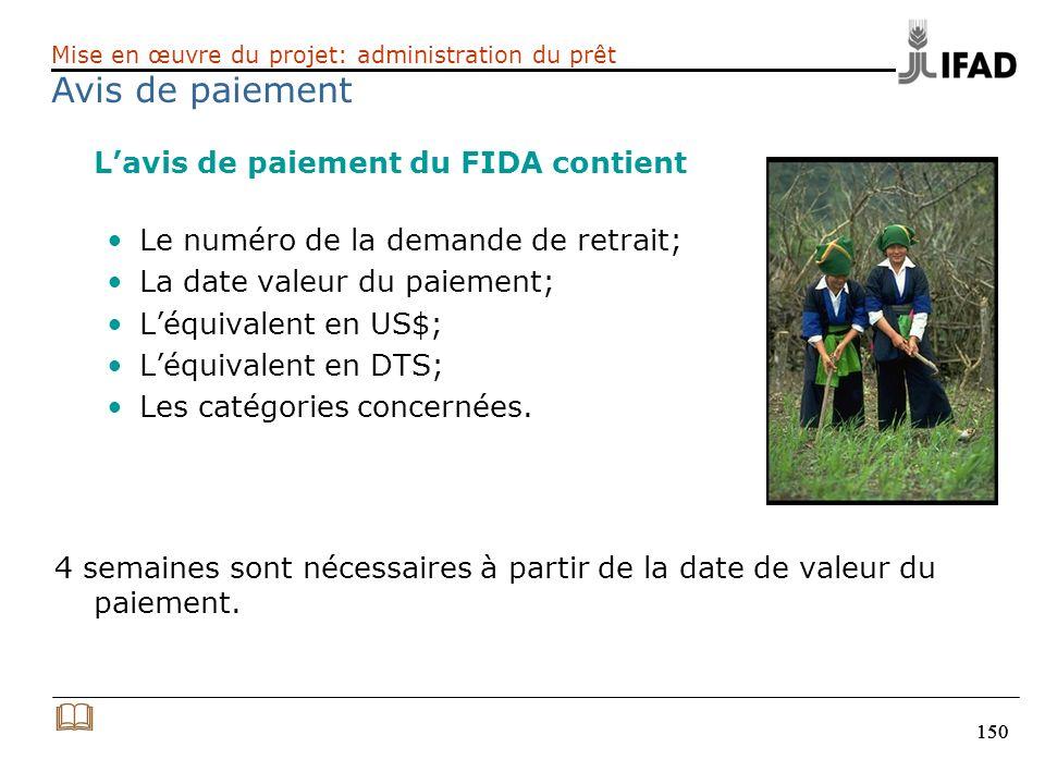 Avis de paiement & L'avis de paiement du FIDA contient