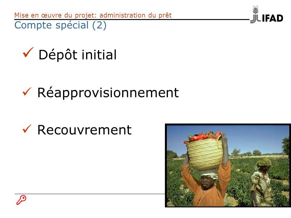 Dépôt initial Réapprovisionnement Recouvrement Compte spécial (2) B