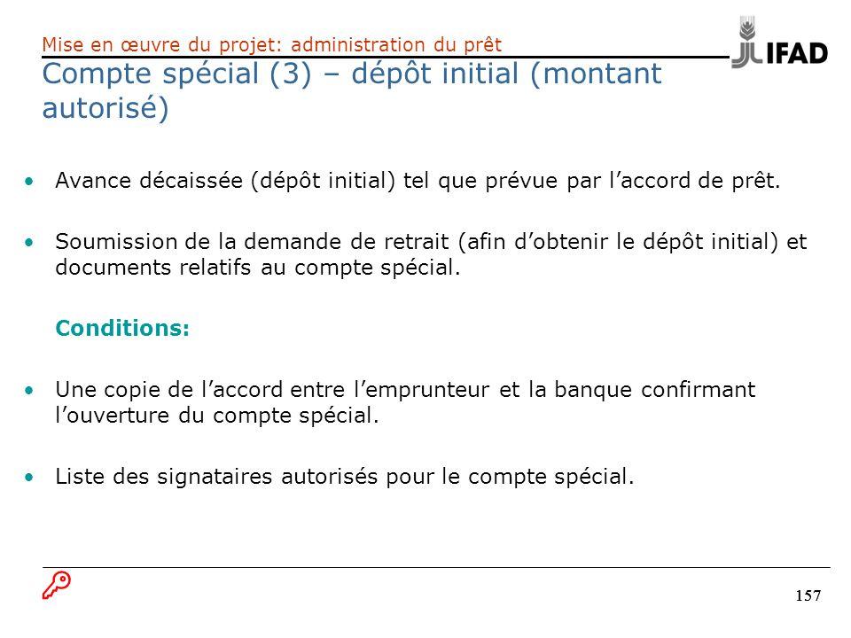 Compte spécial (3) – dépôt initial (montant autorisé)