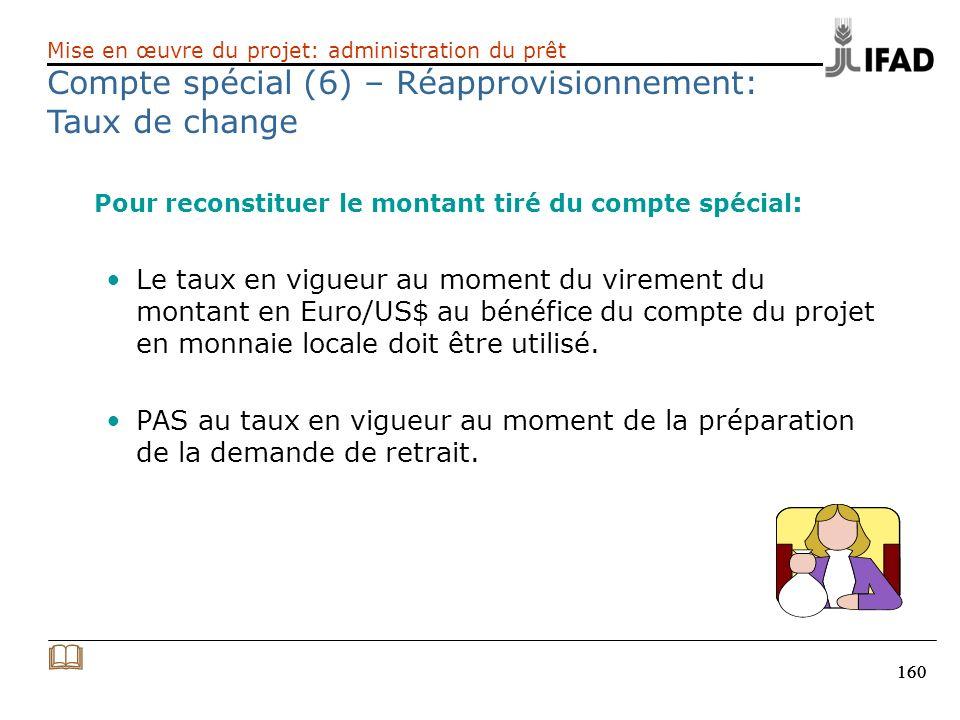 Compte spécial (6) – Réapprovisionnement: Taux de change