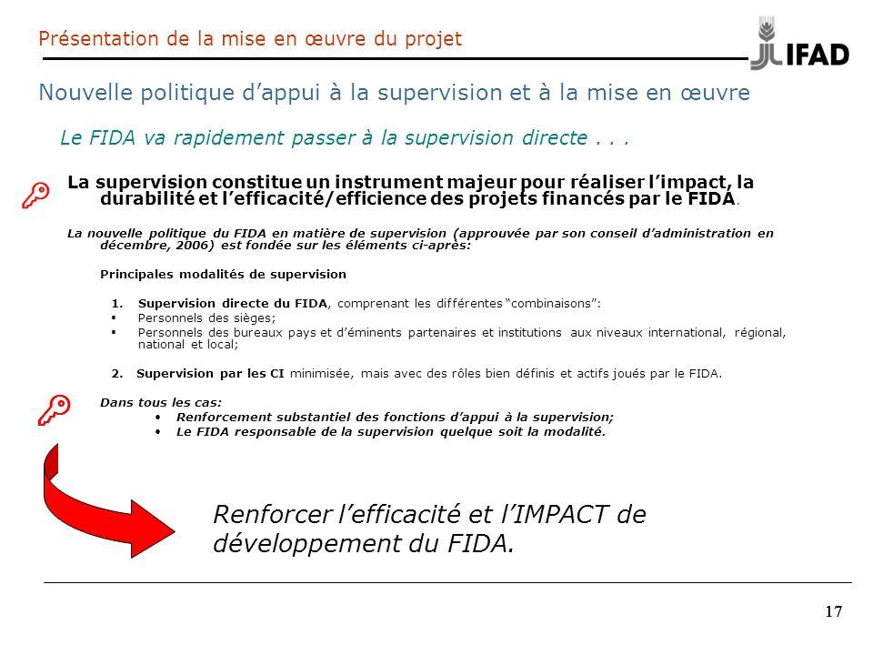 Renforcer l'efficacité et l'IMPACT de développement du FIDA.