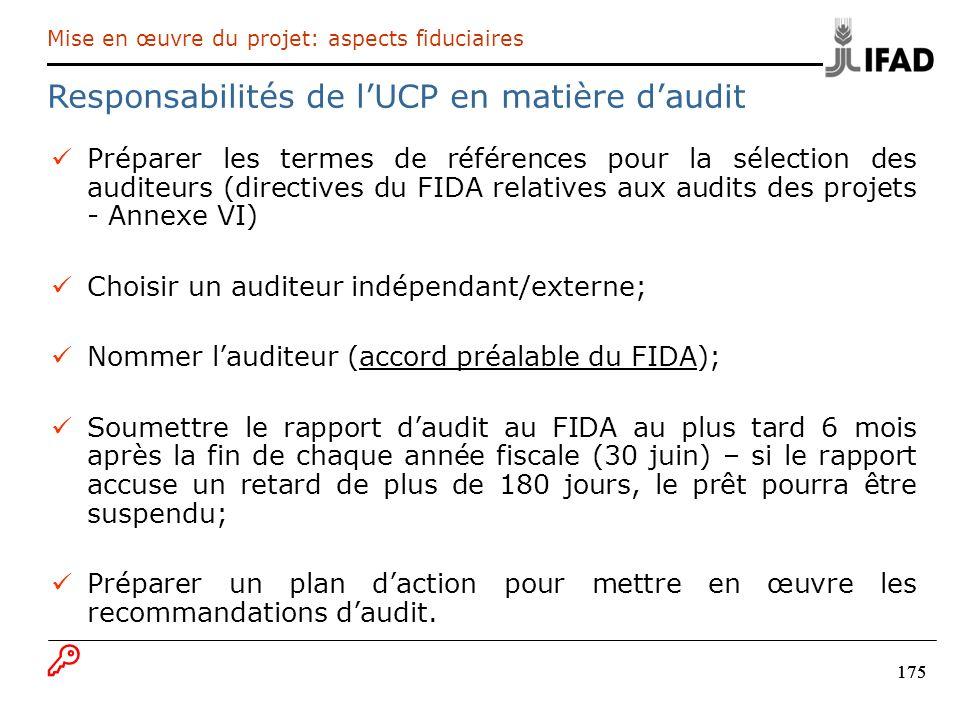 Responsabilités de l'UCP en matière d'audit